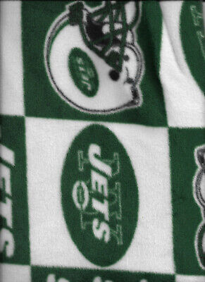 New Green and White New York Jets Fleece Fabric 1 Yard 22
