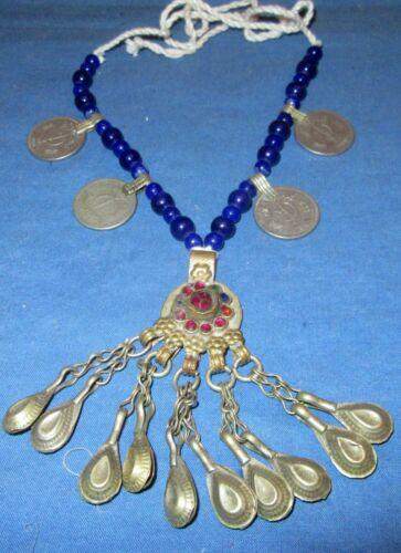 "Necklace Medallion Bead Afghan Kuchi Tribal Alpaca Silver 24"""
