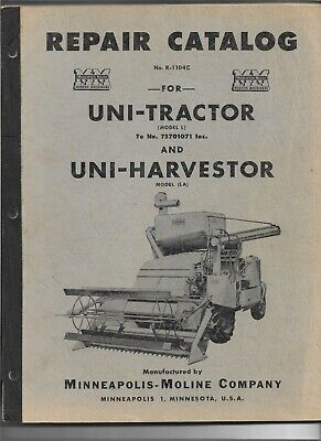 Original Minneapolis Moline Models L Uni-tractor La Uni-harvestor Parts Catalog