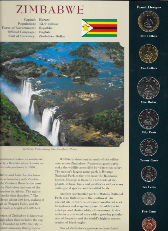 Coins from Around the World Zimbabwe 1997 & 2002 BU UNC 5, 2, 1 Dollars 2002