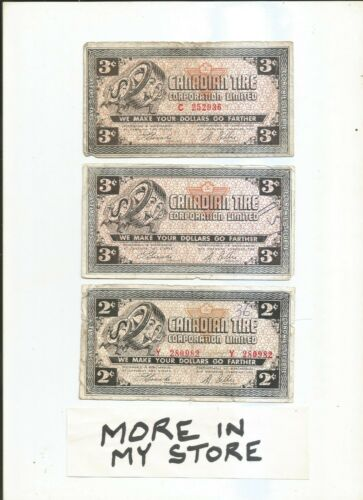 Canadian Tire Money - 2 Cents & 3 Cents - 3 Notes - lot F9