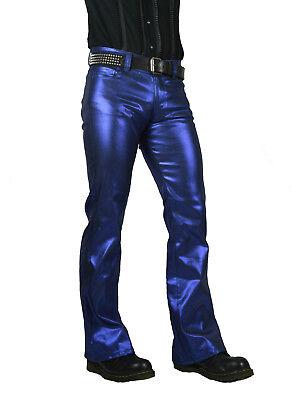 SHRINE CLASSIC BLUE METALLIC GOTH PUNK STEAMPUNK RETRO ROCKER BIKER JEANS PANTS Clothing, Shoes & Accessories