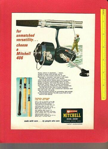 Vintage Original 1968 GARCIA MITCHELL 306, 406 + 402 Saltwater REELS Color Ads