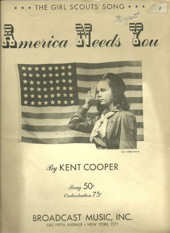 VINTAGE 1942 GIRL SCOUT SHEET MUSIC - AMERICA NEEDS YOU