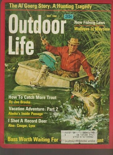 Vintage May 1968 OUTDOOR LIFE Magazine Color Art Cover: LARGEMOUTH BASS FISHING