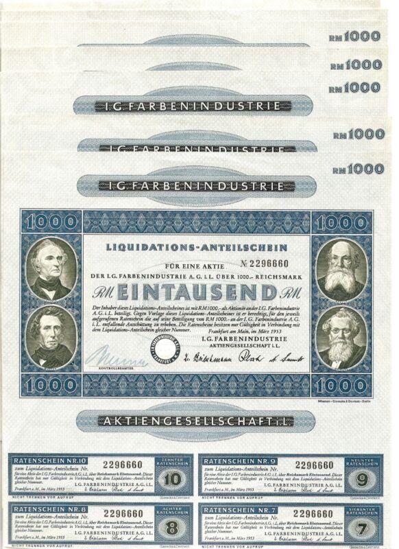 Lot 10 x I.G. FarbenIndustrie 1000 RM 1953 blue