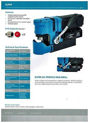 Unibor Elp50 Low Profile Magnetic Drill Press - Warranty Included