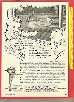 Vintage Original 1946 EVINRUDE 4-cylinder ZEPHYR Outboard Fishing Motors Ad