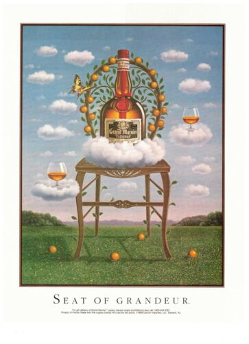 1990 Grand Marnier Orange Liqueur Surrealism Art Vintage Print Advertisement