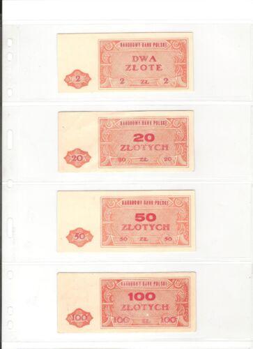 POLAND SET OF 4: NARODOWY BANK POLSKI: 2, 20, 50 AND 100 ZLOTYCH (1948) VF