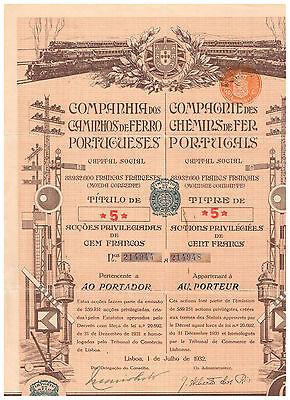 Cia. dos Caminos de Ferro Portugueses, Lisboa 1932, 5 Accoes, deco