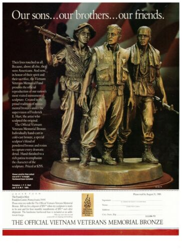 1990 Franklin Mint Vietnam Memorial Bronze Sculpture Vintage Print Advertisement
