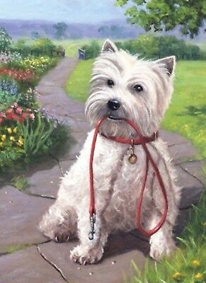 3D Lenticular Picture Westie Highland Terrier Dog Waiting For Walk size 39x29cm