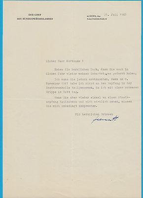 Hans-Heinrich Herwarth von Bittenfeld -  original signierter Brief aus 1962