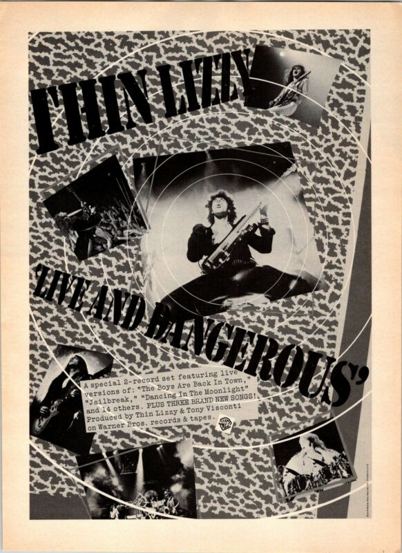 1978 VINTAGE 8X11 ALBUM PROMO PRINT Ad FOR THIN LIZZY LIVE AND DANGEROUS
