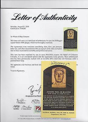 Joe DiMaggio Autographed New York Yankees Baseball HOF Plaque Postcard PSA