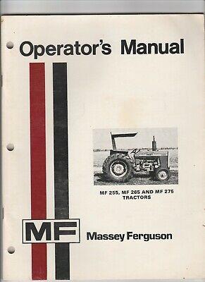 Massey Ferguson Mf Operators Manual Mf 255 265 275 Tractors Farm Equipment