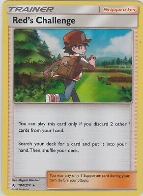 Pokemon TCG SM Unbroken Bonds 184/214 Red's Challenge Holographic Rare Card