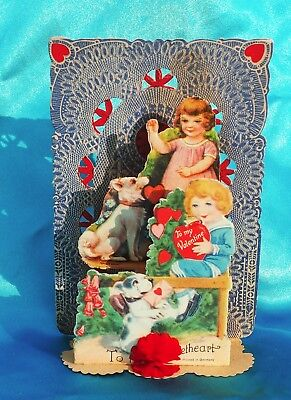 Vintage Pop up Valentine Germany Spitz Samoyed Eskie & Bulldog Boston Bully dog