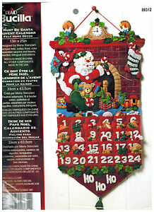 Bucilla Christmas Advent Calendar Kit MUST BE SANTA Jeweled Felt Craft NEW