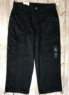 Style & Co. Regular Fit Capri Cargo Pants Bungee Cord Hem BLACK Size Petite 4 4P