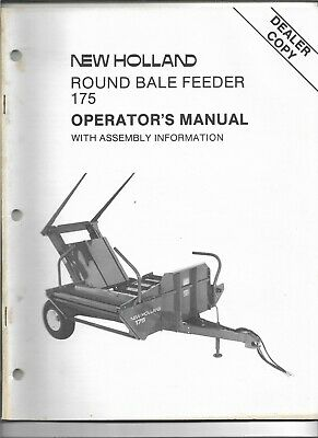 Original New Holland Model 175 Round Bale Feeder Operators Manual 43017510 0887