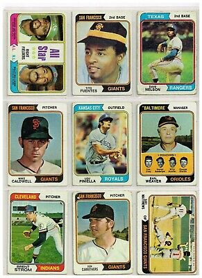 COLLECTION OF NINE (9) 1974 TOPPS BASEBALL CARDS IN G - EXC  LOT #5](Baseballs For Sale In Bulk)