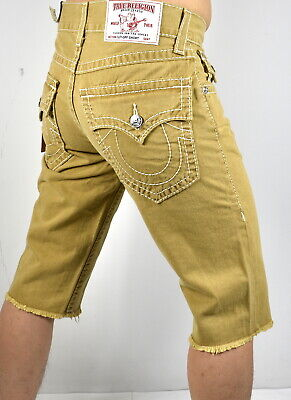 True Religion $229 Men's Straight Fit Natural Big T Shorts - (Faith Natural)