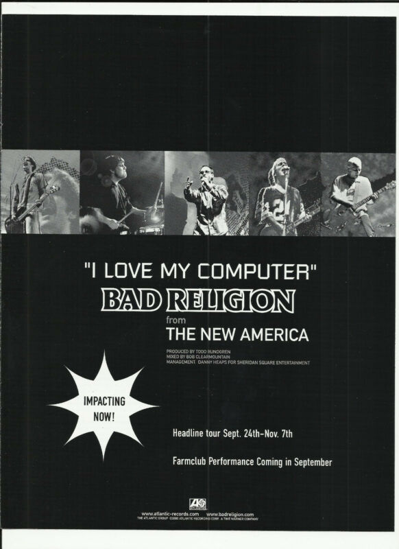 BAD RELIGION I love My Computer RARE TRADE AD Poster for New America CD MINT