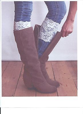 Stretch Lace Boot Cuffs Leg Warmers White Trim Toppers - White Leg Warmers