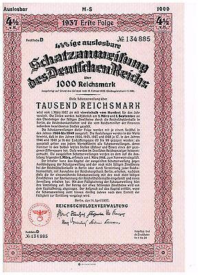 Deutsches Reich, Berlin 1937, Schatzanweisung 1000 RM, Erste Folge