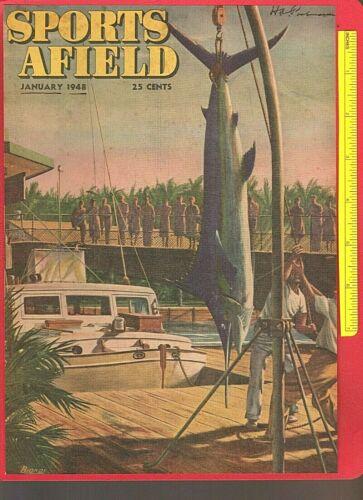 Vintage Jan. 1948 SPORTS AFIELD Magazine Color Art Cover: MARLIN FISHING, Biondi