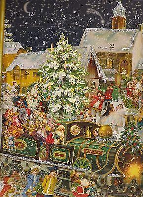 1 Sellmer Adventskalender mit Glimmer Schnee Kinder Eisenbahn Kirche Nr.765