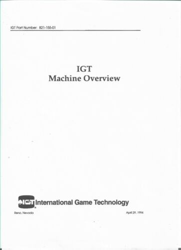 IGT - PLAYERS EDGE PLUS AND S PLUS OVERVIEW MANUAL PDF
