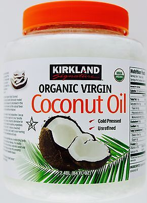 Kirkland 100% USDA Organic Coconut Oil Virgin Cold Pressed Unrefined, 84 FL OZ