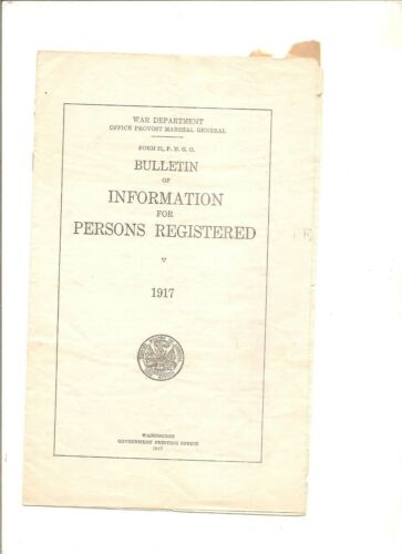 1917 Bulletin of Information for Persons Registered, War Department