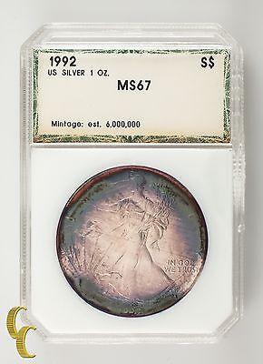 1992 Silber 1 oz American Eagle Schöne Lila und Blaugrün Tönend Im Halter ()