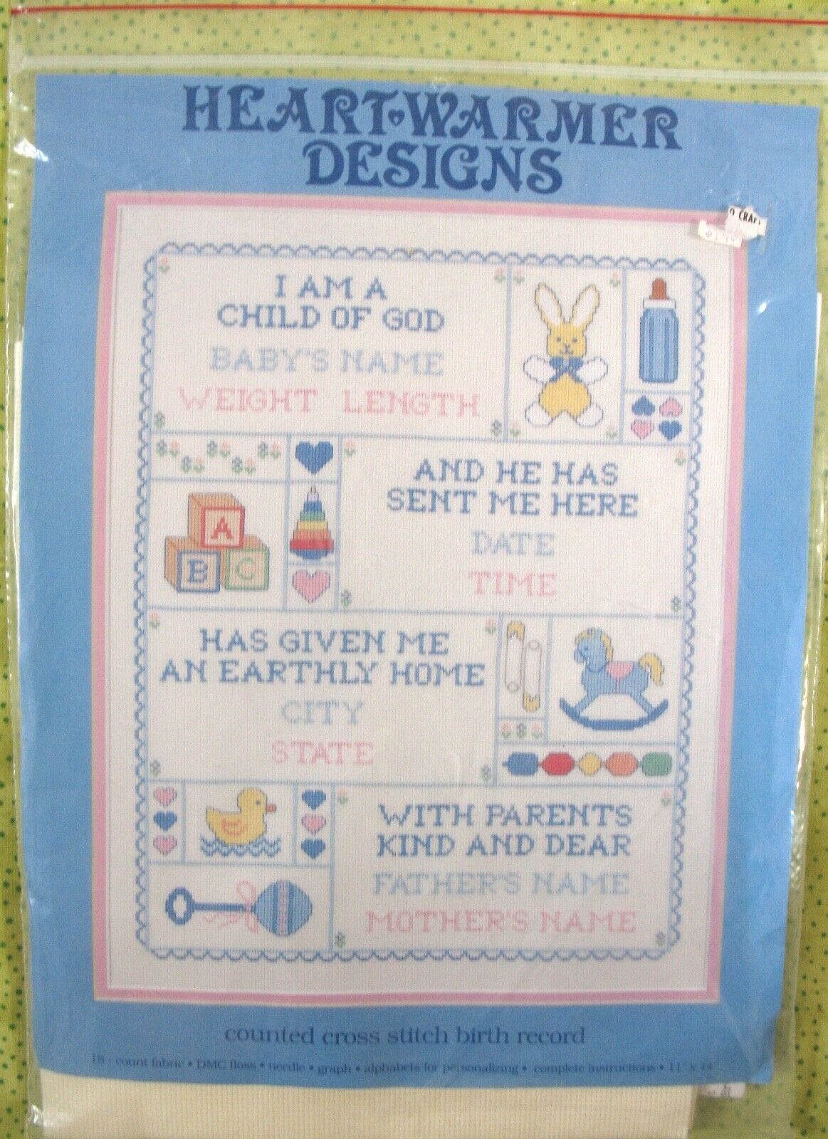 s cross stitch sampler baby birth record