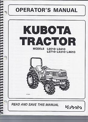 Kubota L3010 L3410 L3710 L4310 L4610 Tractor Operator Manual Ta140-19715