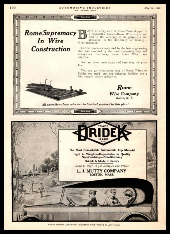 1919 Rome Wire Company New York Wire & Cable Factory Plant Vintage Print Ad