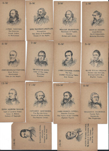 """Lion Coffee Cards Literature Series """"W"""" full set of 14"""