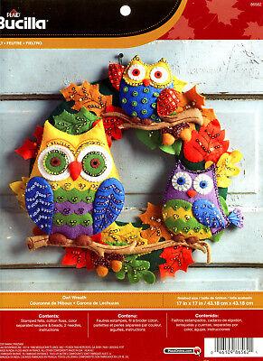 Bucilla Owl Wreath ~ Felt Fall Colors Kit #86562 Acorns, Leaves Autumn - Bucilla Halloween Wreath