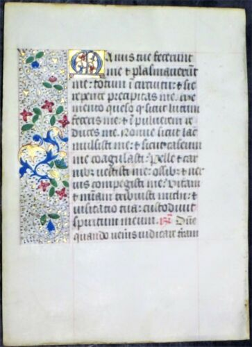 Illuminated medieval BoH leaf,colorful gold initial&borders,ca.1475. #R3
