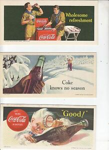 FIVE DIFFERENT COCA-COLA BLOTTERS    1942, 1947, 1953,  1956, 1960, NOS