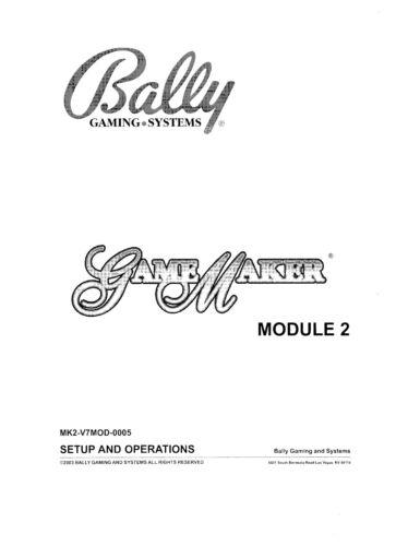 BALLY GAMEMAKER  - SETUP AND OPERATIONS - PDF