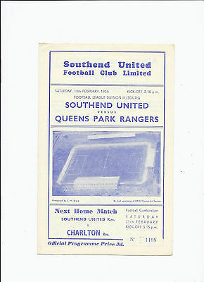 Southend United v QPR Queens Park Rangers 18 February 1956