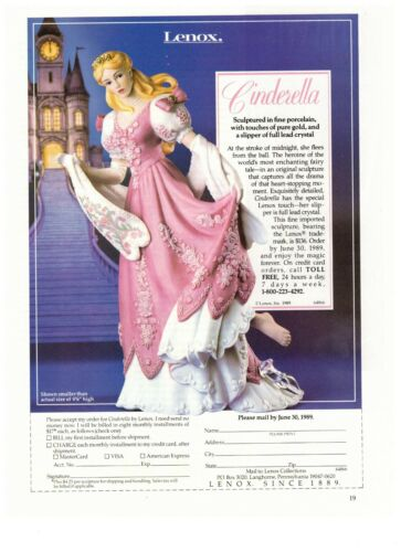 1990 Lenox Cinderella Porcelain Sculpture Vintage Print Advertisement