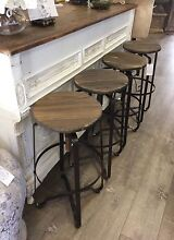 Set of 4 Rustic Vintage Industrial Bar Stools Barstools Richmond Hawkesbury Area Preview