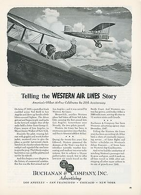 1951 Buchanan & Co. Advertising Agency for Western Air Lines Airlines Aviation