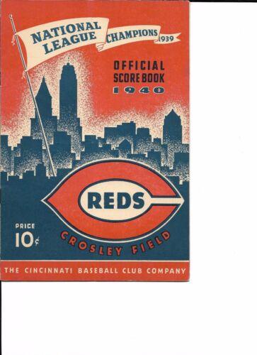 1940 Cincinnati Reds-Cardinals Program Reds Win 2 of 3 World Champs BEAUTY!!